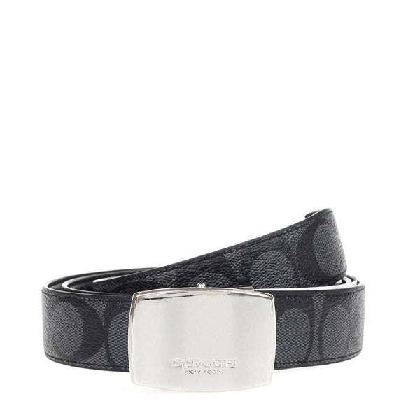 Dress Plaque Cut-To-Size Reversible Signature Coated Canvas Belt (Coach F64828) Charcoal/Black Belts Coach