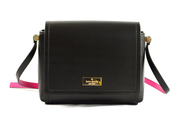 Kate Spade WKRU3945 Avva Arbour Hill Smooth Leather Crossbody Bag (Black/Sweetheart Pink) Womens Handbags Kate Spade
