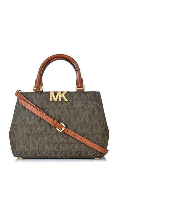 Michael Kors Mk Florence Pvc Md Satchel Brown, Style #35F5Gres2B Womens Handbags Michael Kors