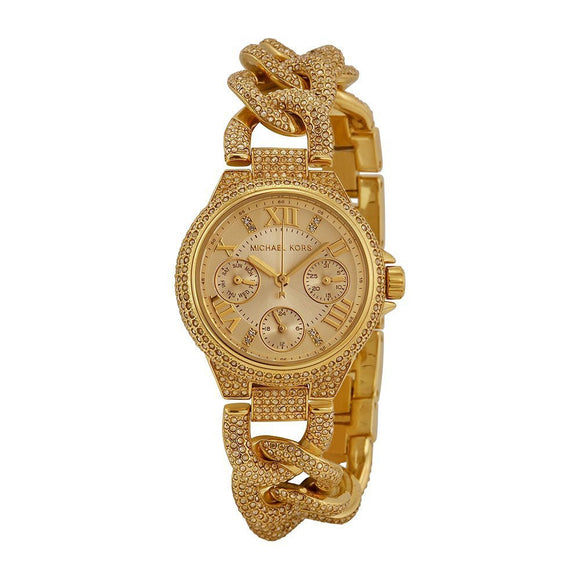 Michael Kors Mini Camille Champagne Dial Crystal Encrusted Ladies Watch Mk3330 Womens Watches Michael Kors