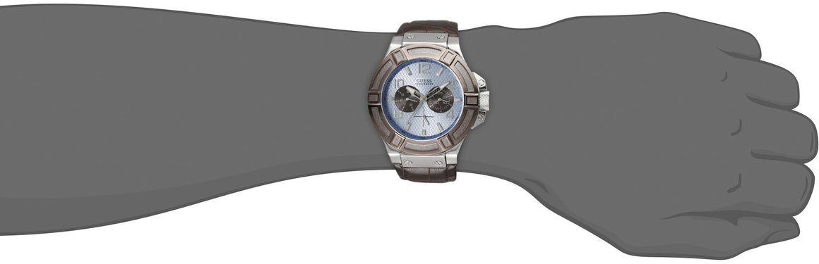 Guess Men'S U0040G10 Rigor Multi-Function Watch With Brown Band