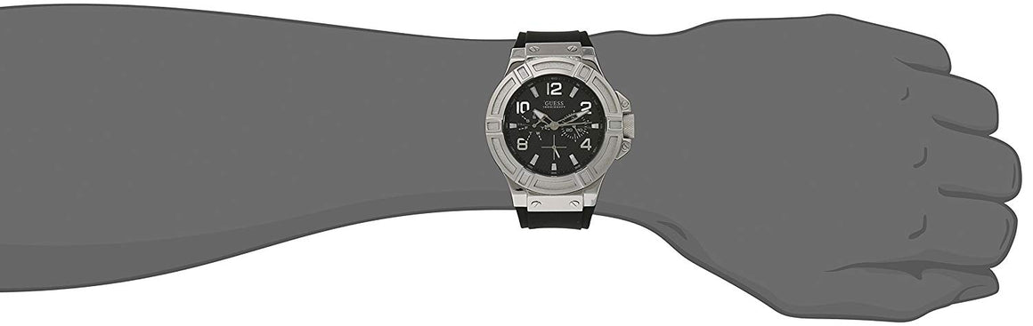 Guess Men'S U0247G4 Rigor Multi-Function Sport Silcone Black-Tone Watch Mens Watches GUESS