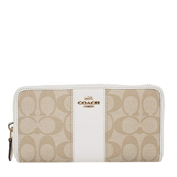 Accordion Zip Wallet In Signature Coated Canvas With Leather Stripe (Coach F54630) Womens Wallets Coach