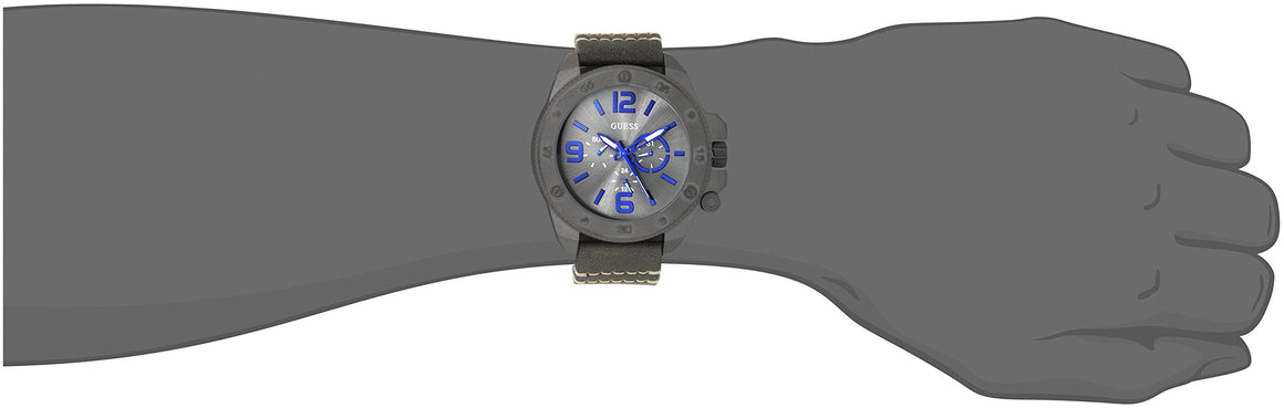 Guess Men'S U0659G3 Fashionable Gunmetal-Tone Stainless Steel Watch With Grey Leather Band