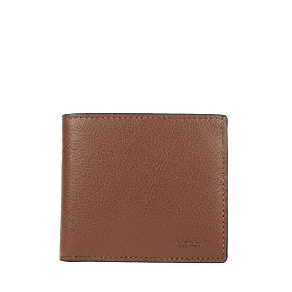 Double Billfold Wallet In Calf Leather (Coach F75084) Dark Saddle Mens Wallets Coach