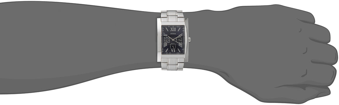 Guess Men'S U0484G2 Retro Silver-Tone Multi-Function Watch With Blue Dial Mens Watches Guess
