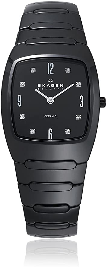 SKAGEN Black Dial Swarovski Crystal Black Ceramic Ladies Watch 914SBXC