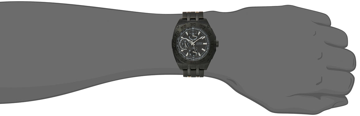Guess Men'S U0487G2 Black Ionic Plated Multi-Function Watch