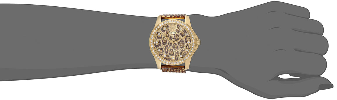 Guess Women'S U0333L1 Animal Print Mesh Gold-Tone Watch