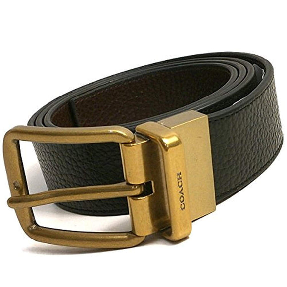 Wide Harness Cut-To-Size Reversible Pebble Leather Belt (Coach F64840) Belts Coach