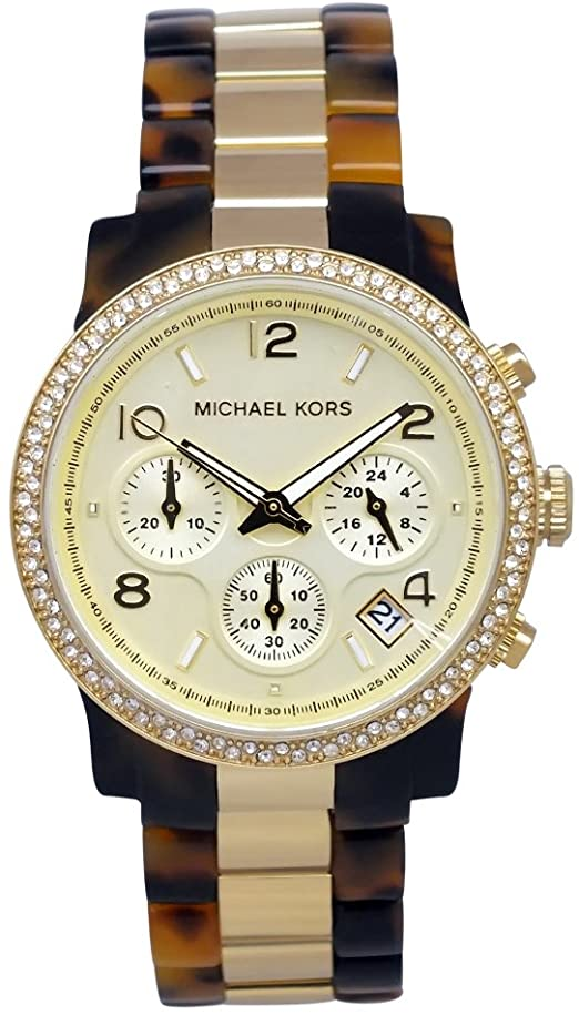 Michael Kors Women's Chronograph Gold-Tone Stainless Steel and Tortoise Acetate MK5581 Womens Watches Michael Kors