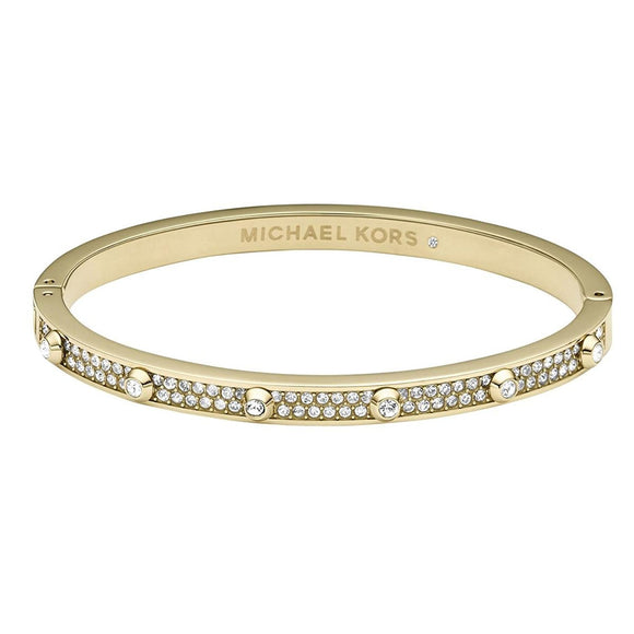 Michael Kors Heritage Gold Tone Astor Pave Hinged Bangle Bracelet Mkj3267 Jewlery Michael Kors