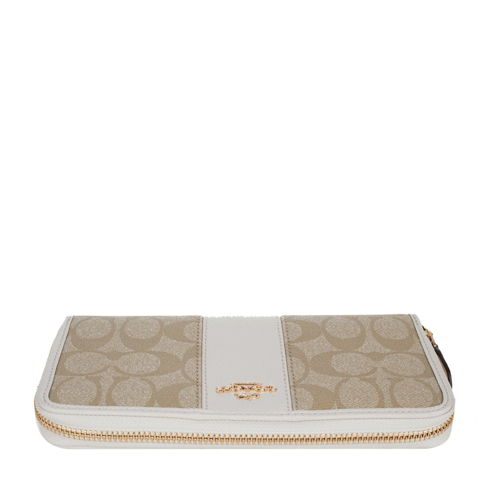 brand new 6b121 2c7b7 Accordion Zip Wallet In Signature Coated Canvas With Leather Stripe (Coach  F54630)