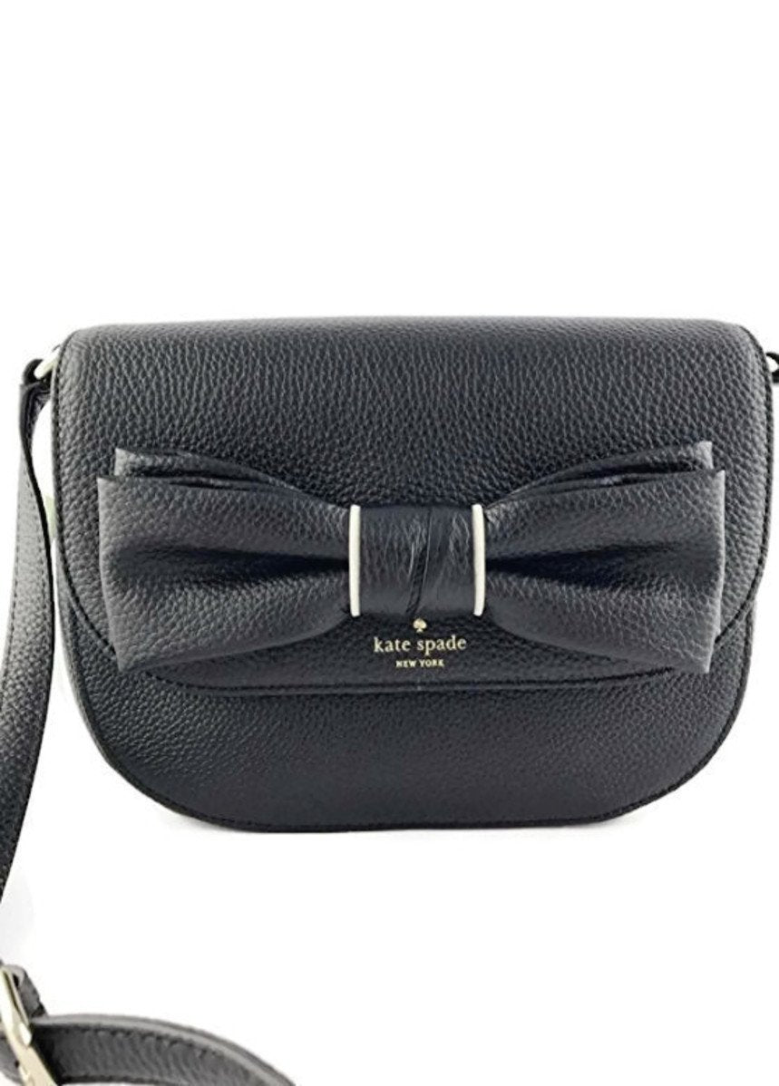 Kate Spade WKRU4603 Rosewood Place Adelaide Crossbody Black Ribbon Womens Handbags Kate Spade