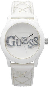 Guess Ladies Watch White Quilted Patent Leather U10655L1