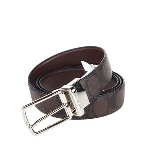 Modern Harness Cut-To-Size Reversible Signature Coated Canvas Belt (Coach F64825) Mahogany/Brown Belts Coach