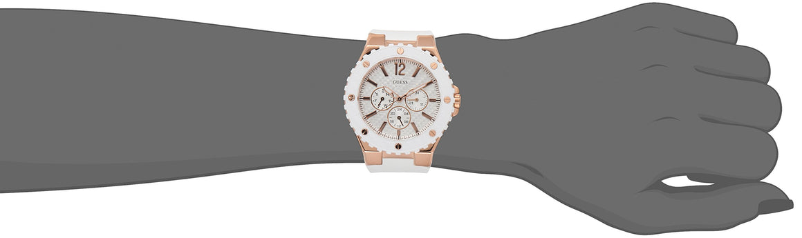 Guess Women'S U0452L1 Sporty Oversized Multi-Function Watch With Comfortable White Silicone Strap & Rose Gold-Tone Accents Womens Watches Guess