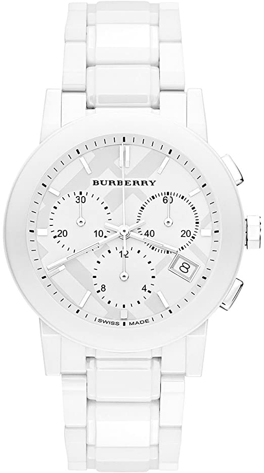Burberry White Ceramic Chronograph Womens Watch BU9080