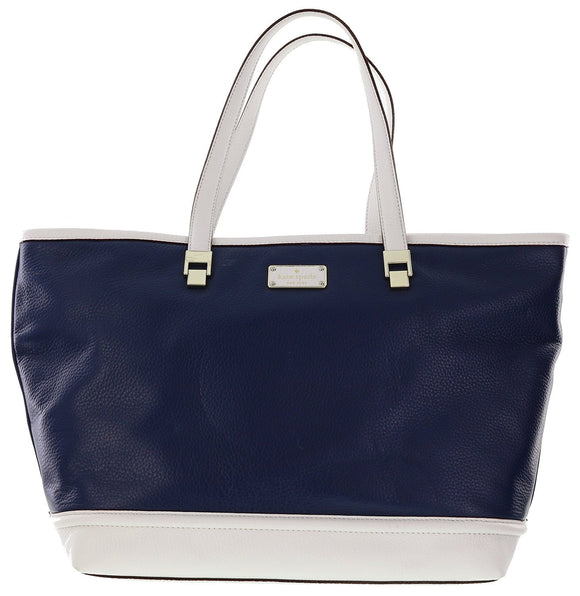Kate Spade WKRU3783 New York Oliver Street Taren Pebbled Leather Shoulder Bag Tote (French Navy/Cream) Womens Handbags Kate Spade