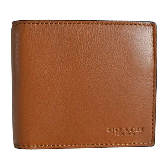 Compact Id Wallet In Sport Calf Leather (Coach F74991) Dark Saddle Mens Wallets Coach