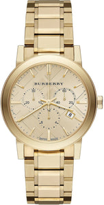 Burberry Woman'S Watch Yellow Gold-Tone Stainless Steel Chronograph Ladies Watch 38Mm Womens Watches Burberry