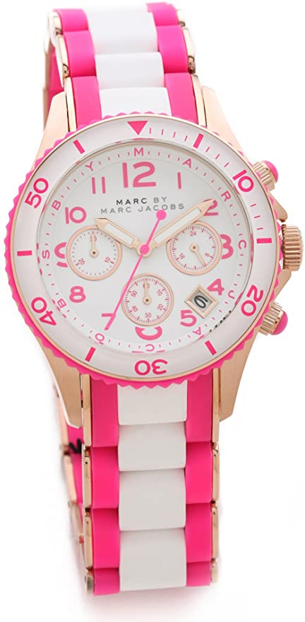 Marc by Marc Marc Jacobs Rock Chronograph Pink and White Silicone Ladies Watch Womens Watches Marc by Marc Jacobs