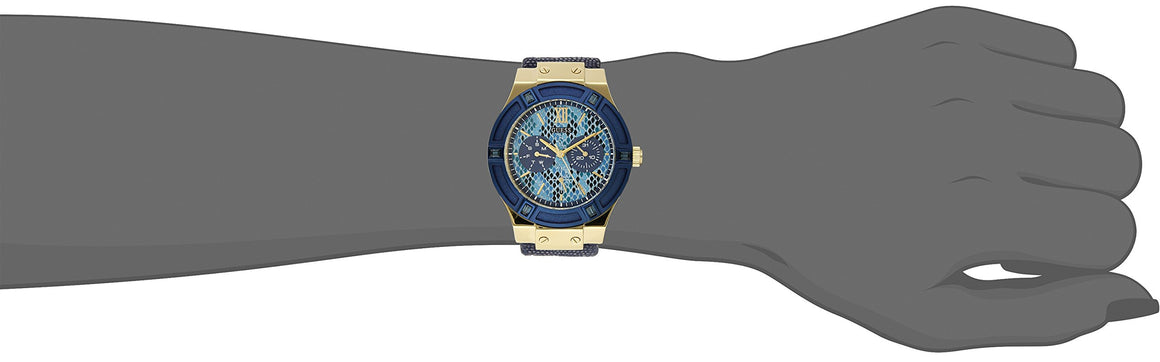 Guess Women'S U0289L3 Iconic Indigo Blue & Gold-Tone Multi-Function Watch