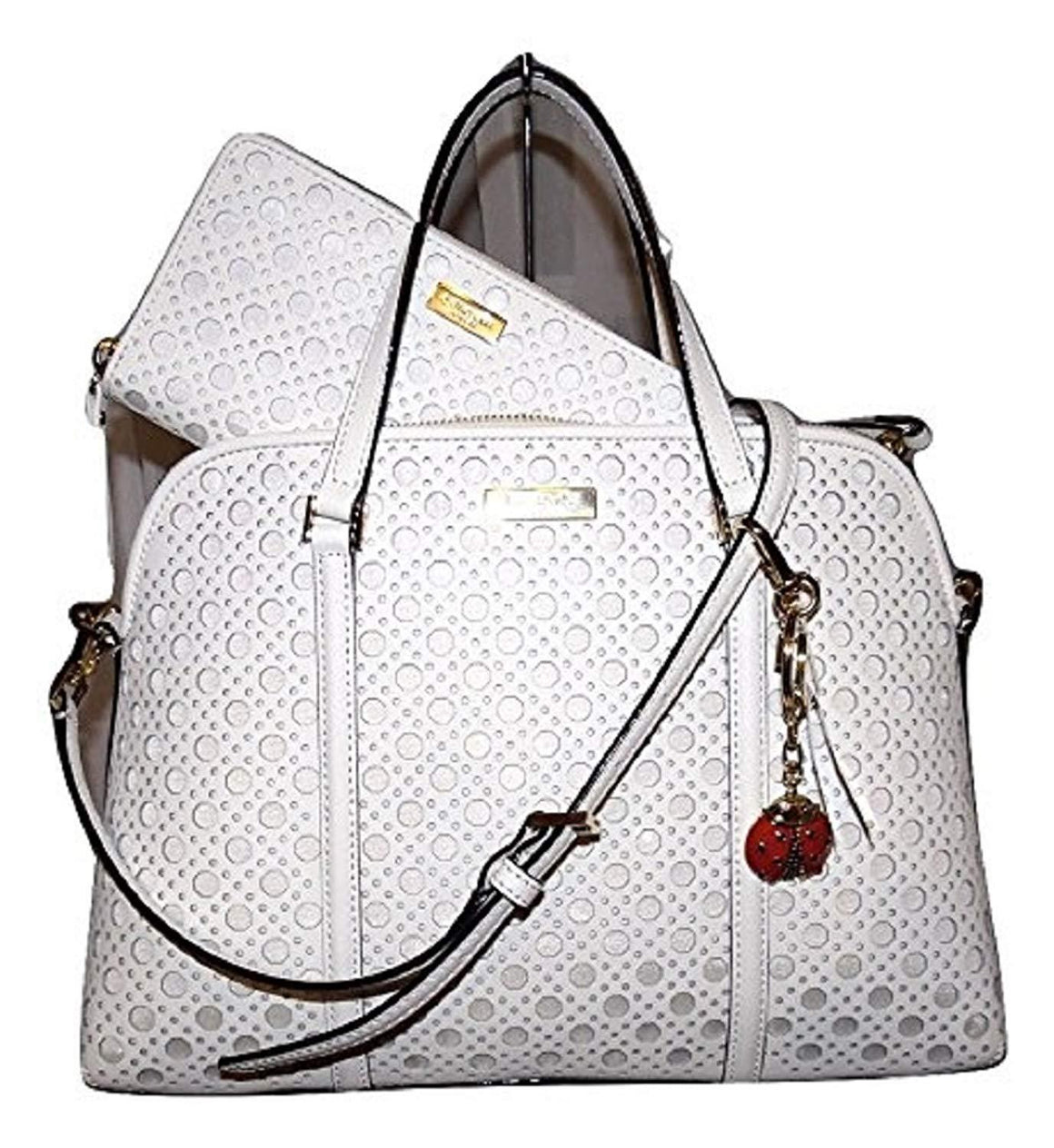 Kate Spade WKRU3659 New York Newbury Lane Caning Small Rachelle Convertible Satchel,Bright White Womens Handbags Kate Spade