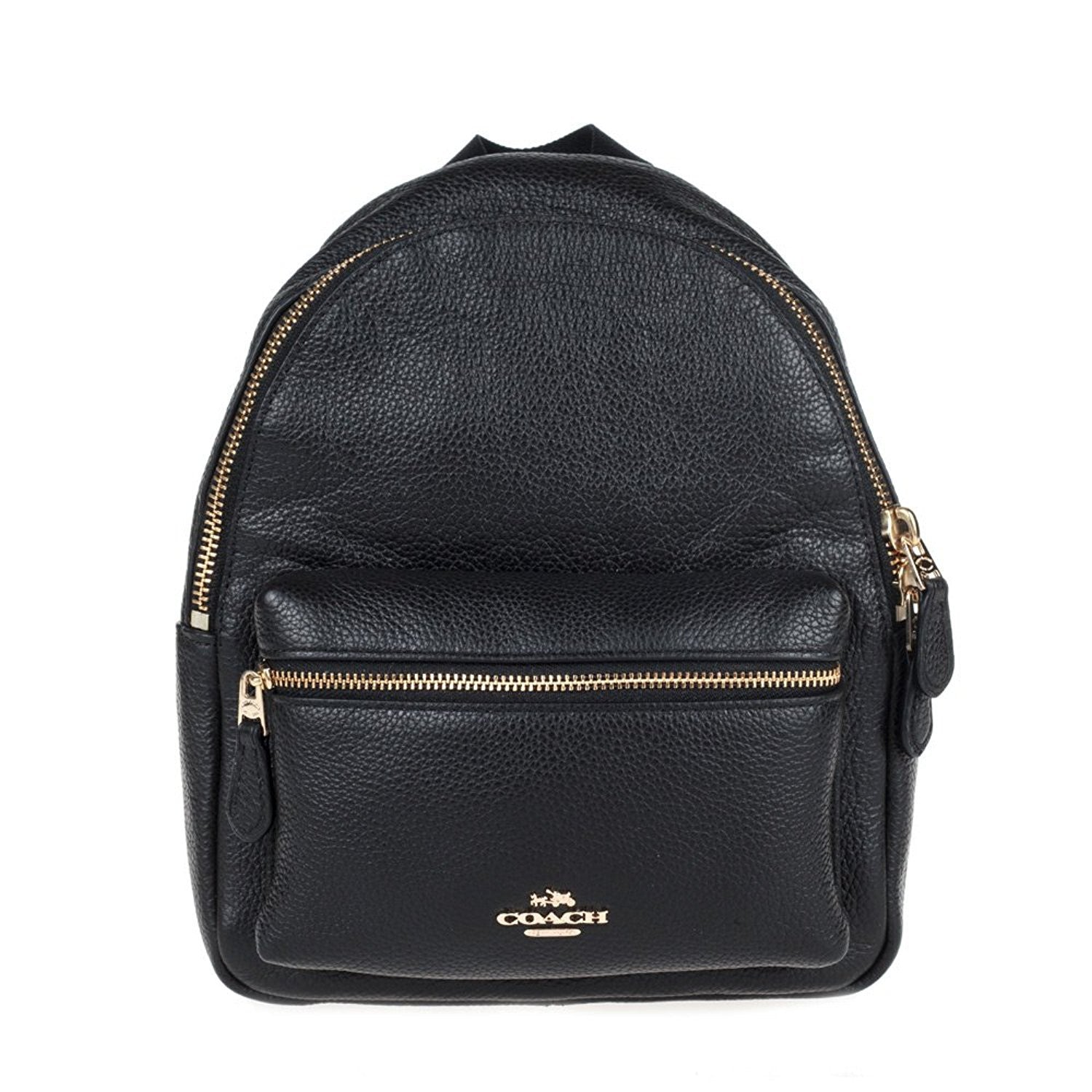 Mini Charlie Backpack In Pebble Leather (Coach F38263) Gold Black ... 320520b249a24