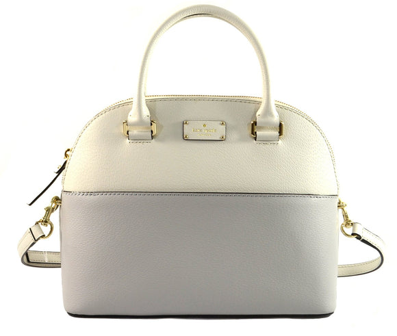 Kate Spade WKRU4192 Grove Street Carli Leather Crossbody Bag Purse Handbag, Cream Light Grey Womens Handbags Kate Spade