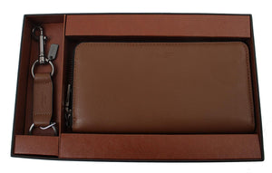 Accordion Wallet In Sport Calf Leather Gift Set (Coach F58928) Dark Saddle Mens Wallets Coach