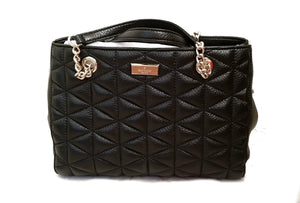 Kate Spade WKRU3910 Meena Emery Court Black Leather Embossed Handbag Womens Handbags Kate Spade