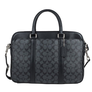 Perry Slim Briefcase In Signature (Coach F54803) Charcoal/Black Mens Bags Coach