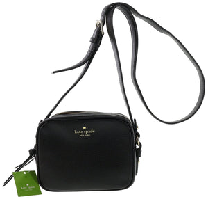 Kate Spade WKRU3925 New York Mulberry Street Pyper Pebbled Leather Crossbody Shoulder Bag (Black) Womens Handbags Kate Spade