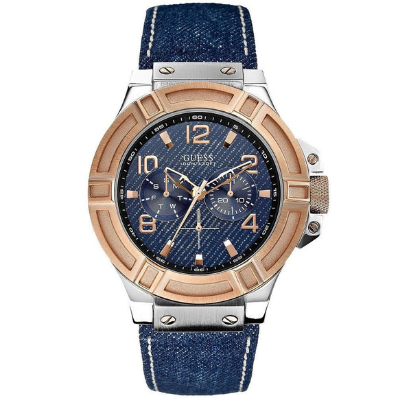 Guess U0040G6 Men'S Denim And Rose-Gold Tone Rigor Standout Casual Sport Watch Mens Watches Guess