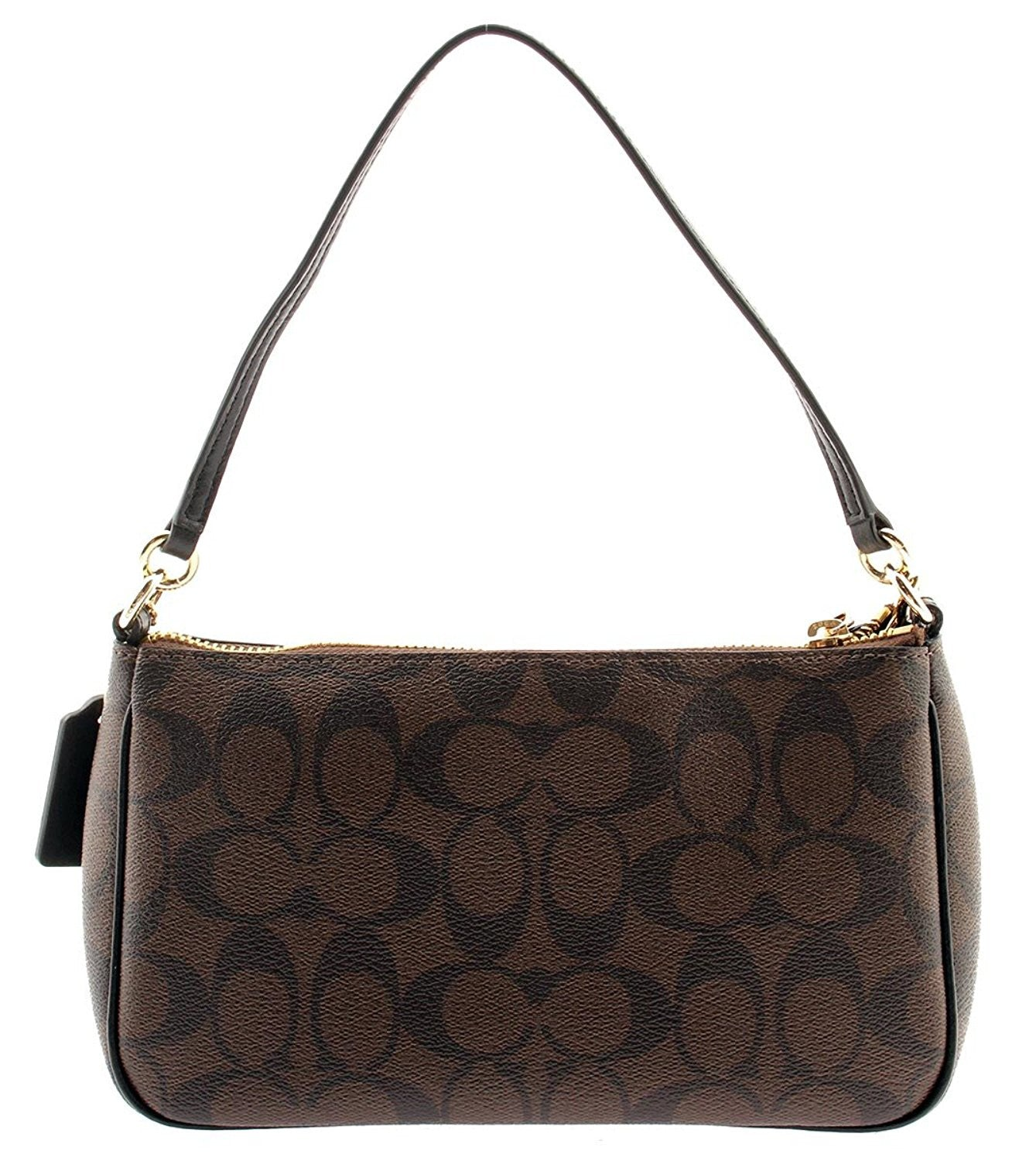 7b493cce2fc2 Messico Top Handle Pouch In Signature (Coach F58321) Gold Light Brown Black