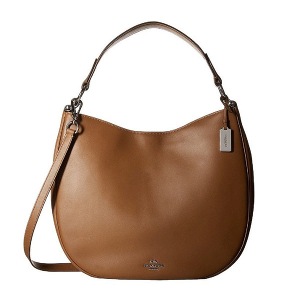 Coach Nomad Hobo In Glovetanned Leather (Coach F36026) Silver/Saddle Womens Handbags Coach