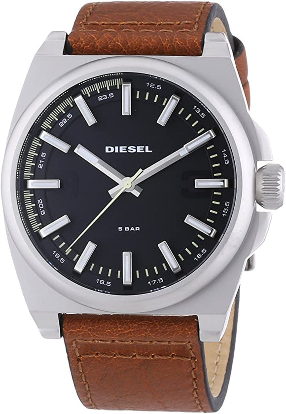 Diesel DZ1611 SC2 Black White Silver Analog Dial Brown Leather Men Watch NEW
