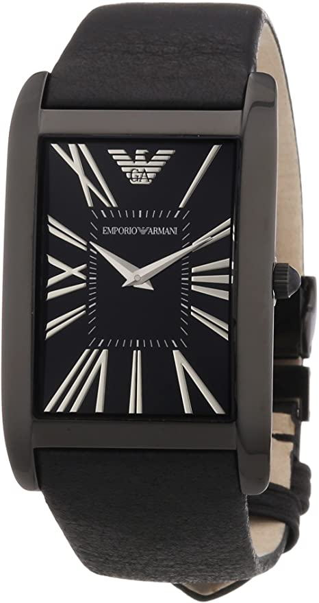 EMPORIO ARMANI AR2060 BLACK DIAL LEATHER WATCH