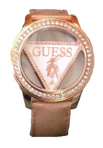 Guess U10045L2 Clearly Guess Triangle Logo Ladies Watch - Rose Gold Womens Watches Guess