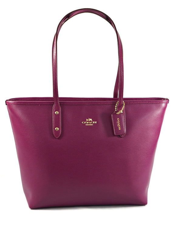 City Zip Tote In Crossgrain Leather (Coach F58846)  Fuchsia Womens Handbags Coach