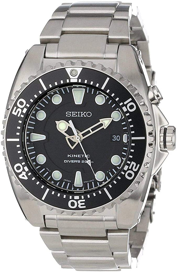 Seiko Men's SKA371P1 Kinetic Black Dial Watch with Bracelet