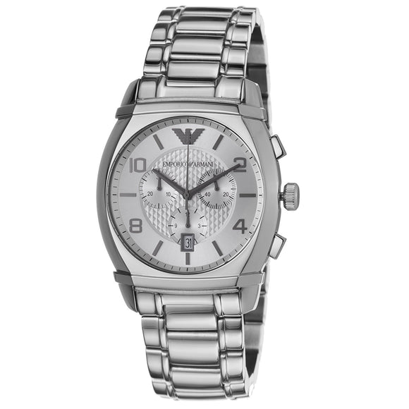 Emporio Armani Men'S Ar0350 Classic Silver Chronograph Dial Watch Mens Watches Emporio Armani