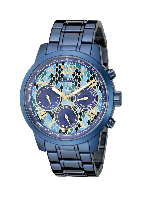 Guess Women'S U0330L17 Iconic Indigo Blue Python Print Multi-Function Watch Womens Watches Guess