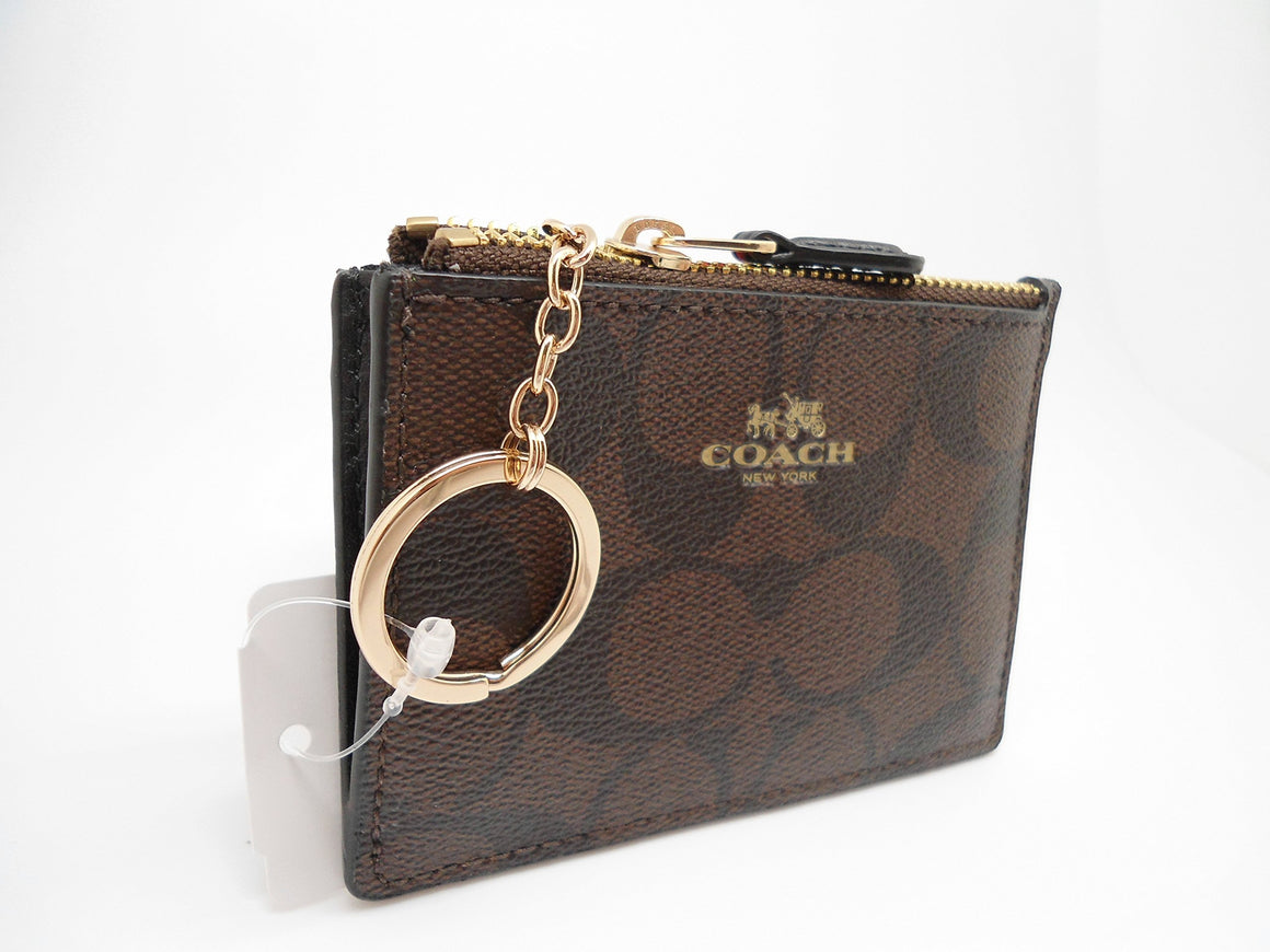 Mini Skinny Id Case In Signature Coated Canvas (Coach F16107)