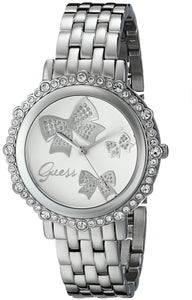 Guess Women'S U0303L1 Bow Inspired Silver-Tone Watch With Genuine Crystal Accents Womens Watches Guess