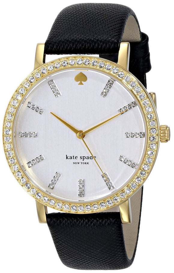 Kate Spade 1YRU0445 New York Women'S 1Yru0445 Metro Grand Crystal-Accented Watch With Black Leather Band Womens Watches Kate Spade