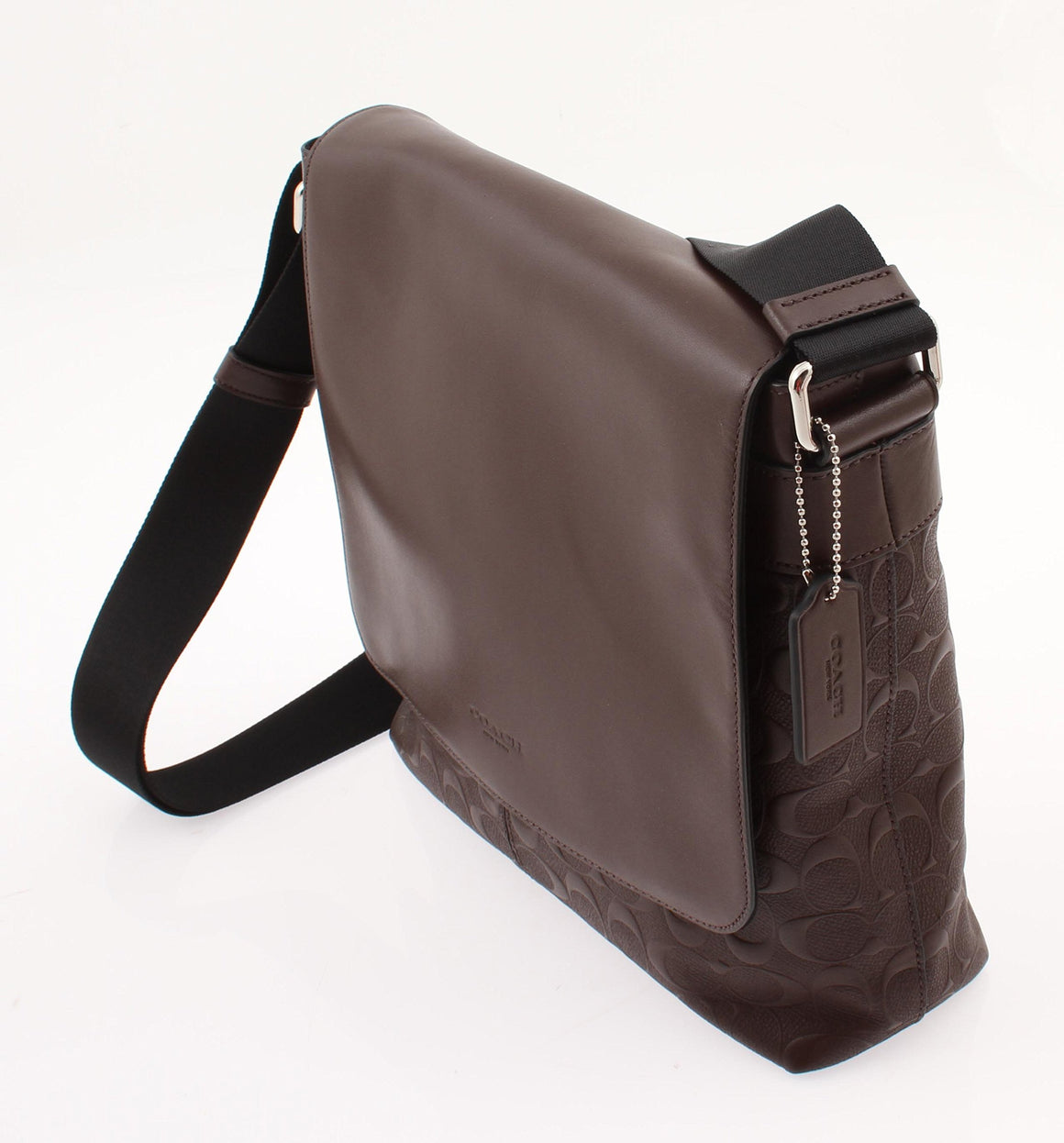 Charles Small Messenger In Signature Crossgrain Leather (Coach F72220) Mahogany Mens Bags Coach