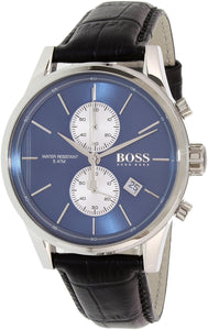 Hugo Boss Black Leather Blue Dial Chronograph Quartz Analog Men'S Watch 1513283 Mens Watches Hugo Boss