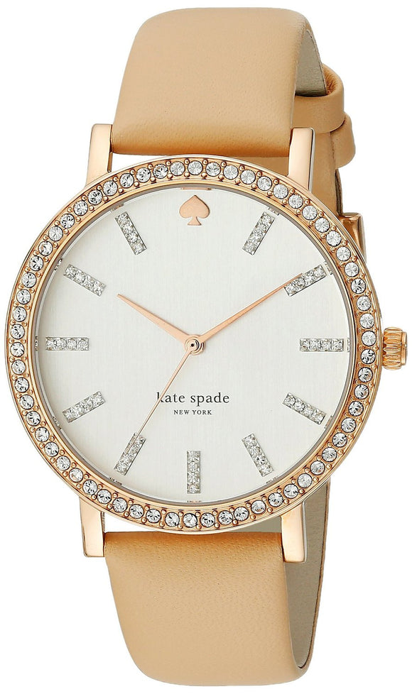 Kate Spade 1YRU0446 New York Women'S 1Yru0446 Metro Crystal-Accented Rose Gold Ion-Plated Watch With Beige Leather Band Womens Watches Kate Spade